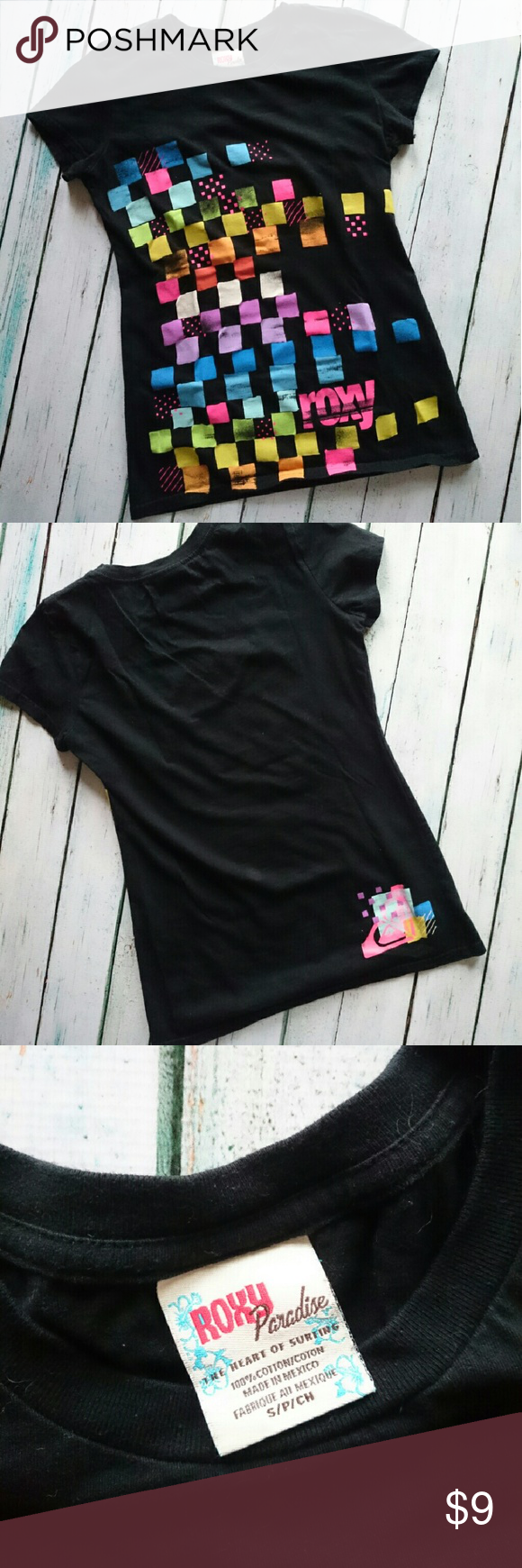 Roxy T-shirt Super cute black, short sleeve tee by Roxy Paradise. Front has bright, colorful squares, while the back has the Roxy logo on the bottom right. Roxy Tops Tees - Short Sleeve