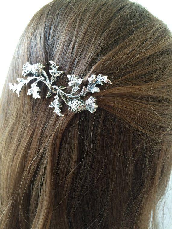 Silver Scottish Thistle Hair Pin leaf Bobby Pin Bridal ...