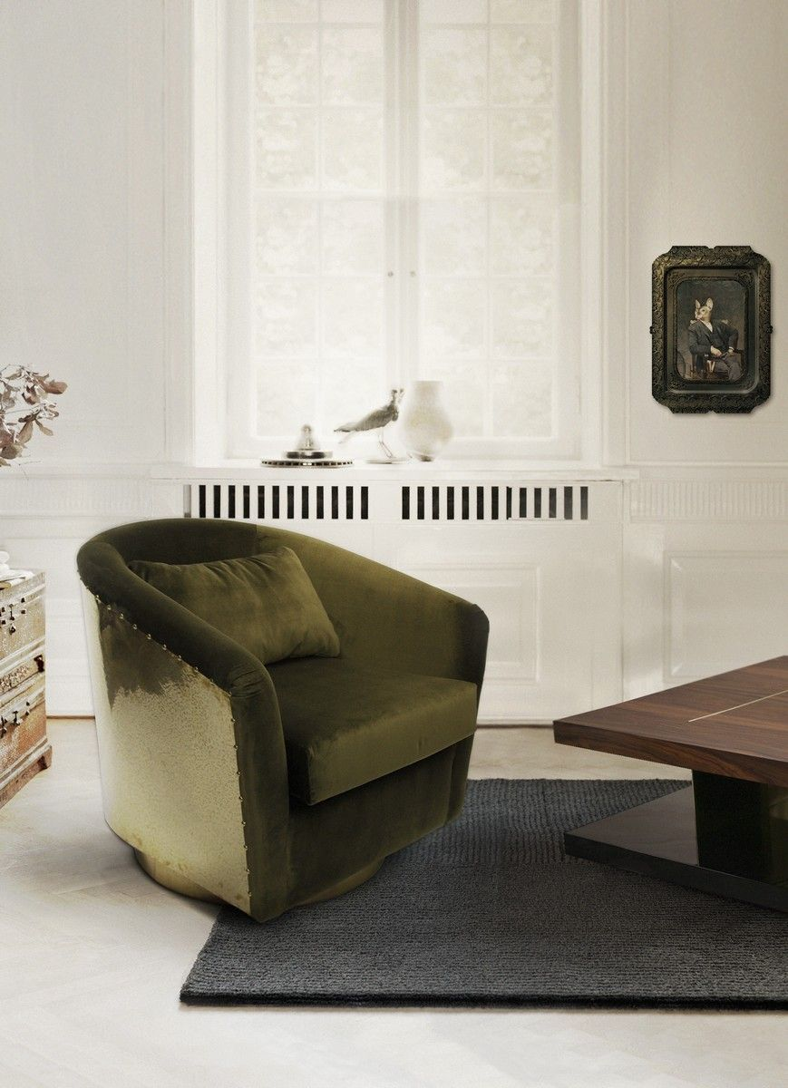 Velvet Chair | Interior Design Inspiration | Accent Chair | #upholstery #velvet #velvetchair Find more inspiration at: https://www.brabbu.com/en/inspiration-and-ideas/materials/trendiest-materials-home-decor-2017