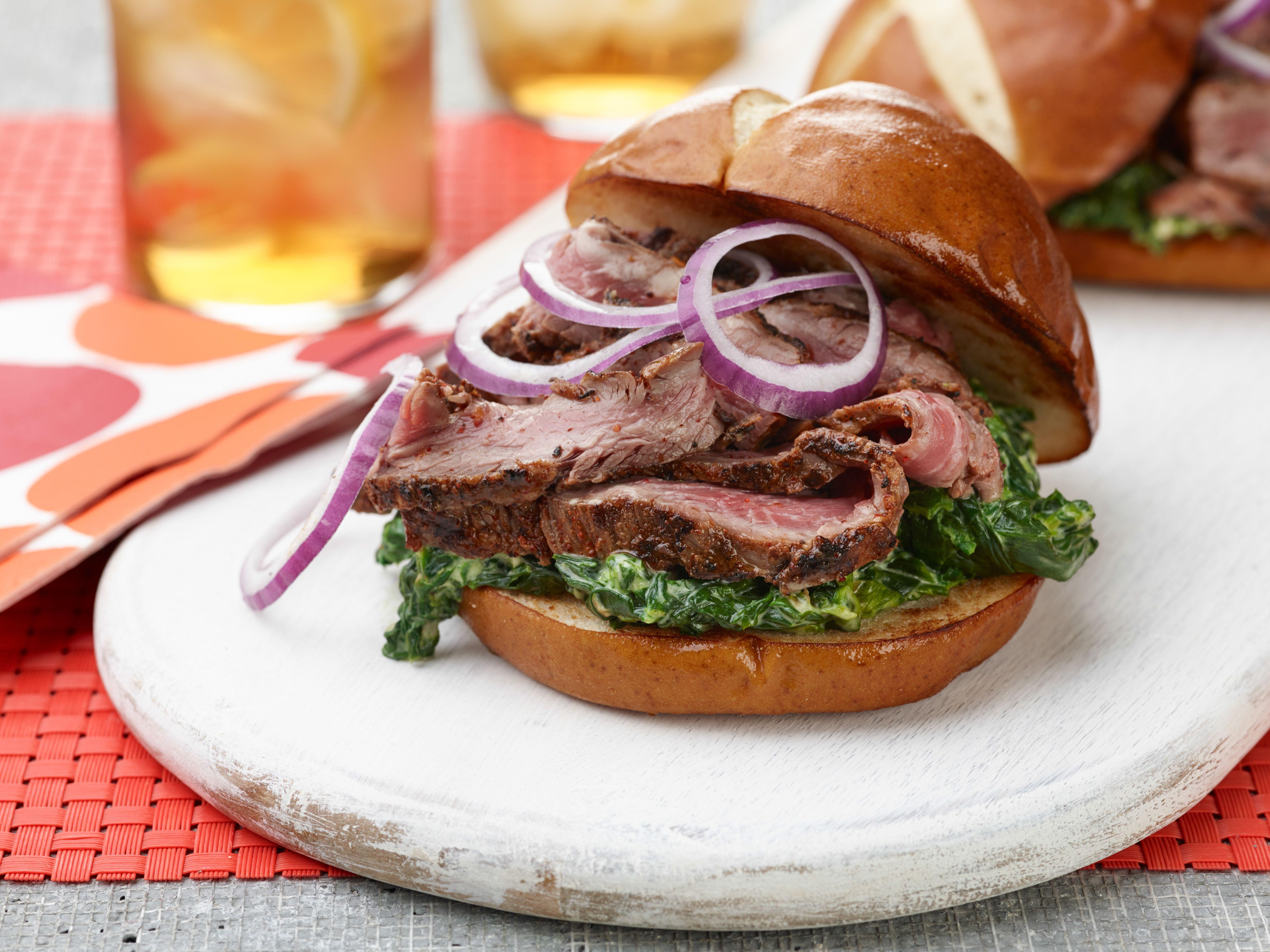 Hanger steak sandwich with bourbon creamed spinach recipe hanger steak sandwich with bourbon creamed spinach forumfinder Image collections