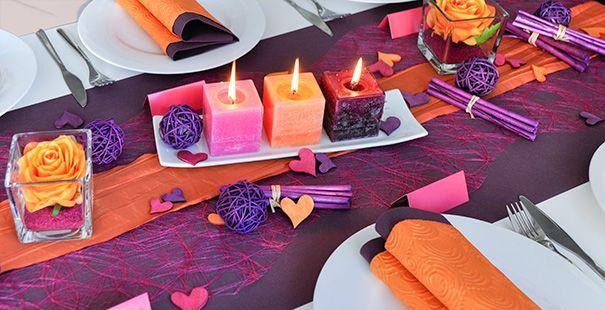 Tischdeko in aubergine pink orange die au ergew hnliche for Tischdeko aubergine
