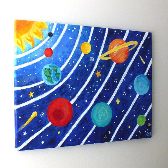 Art Ideas Ourselves Topic: CUSTOM Art, Solar System, 16x12 Acrylic Canvas Painting