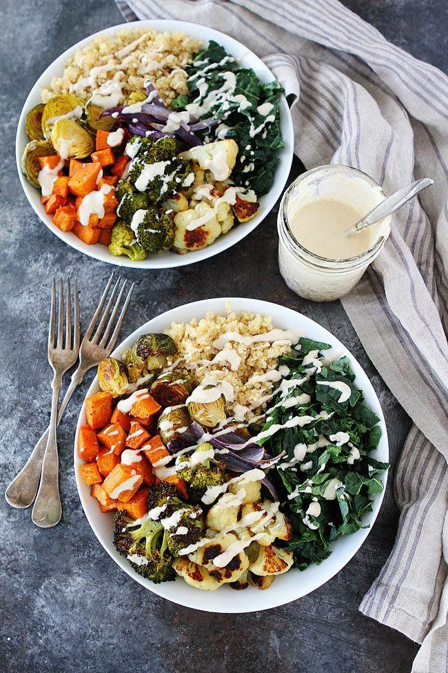 Roasted Vegetable Quinoa Bowls with Lemon Tahini Dressing-an easy meal prep idea for lunch or dinne