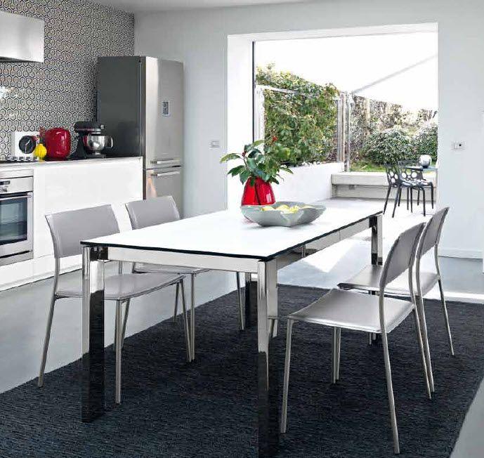 Conjunto de mesa cristal blanca con 4 sillas. Cod. 2029 | Mesas y ...