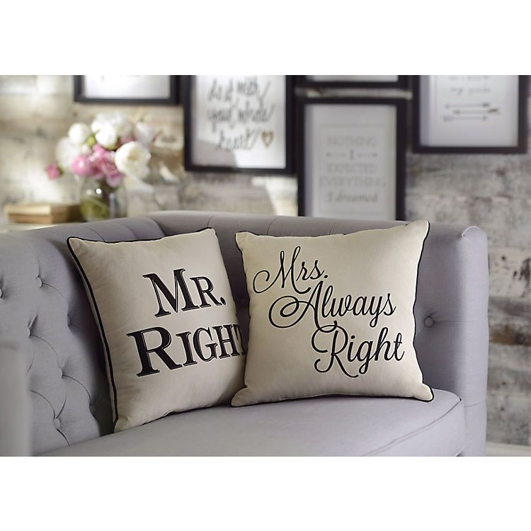 Mr And Mrs Always Right Pillows Set Of 2 Kirkland Home Decor