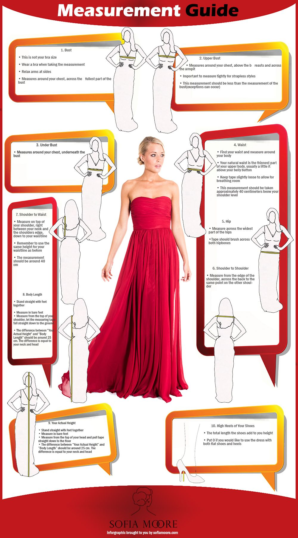 Measurement Guide For Formal Dresses Infographics Fashion Formal Dresses Diy Prom Dress Fashion Infographic