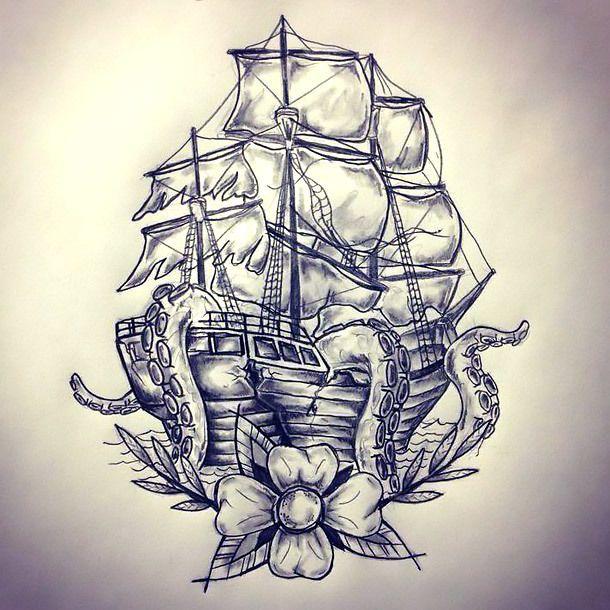 Ship Kraken Tattoo Design Kraken Tattoo Hawaiian Tattoo