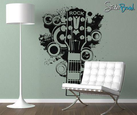 Vinyl Wall Decal Sticker 70's Inspired Guitar #OS_AA139