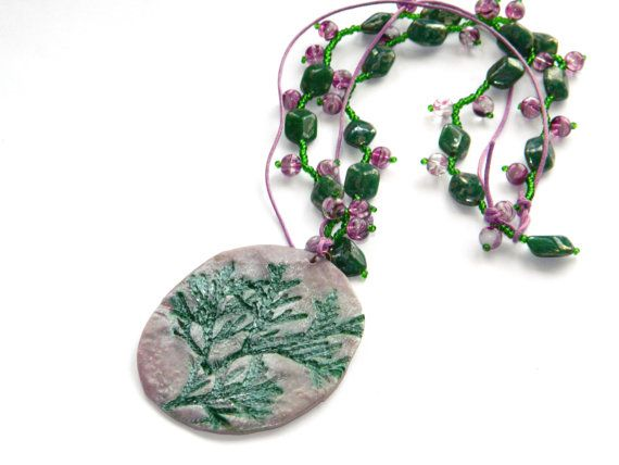 Floral PendantPolymer clay pendantReal Herbal by YarinkaHobbie, $15.50