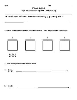 5th Grade EngageNY/Eureka Math Module 3 Topic A Quiz/Review | 5th