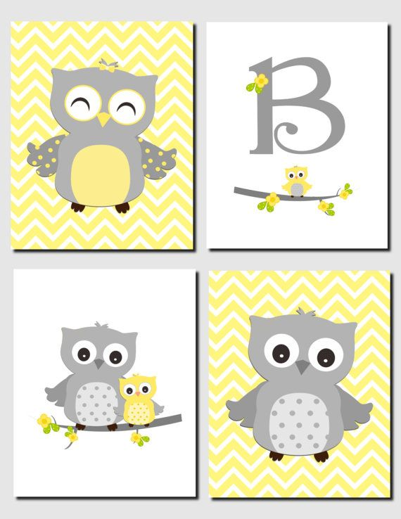 Yellow Gray Nursery Owl Decor Initial Monogram Baby Kids Art Chevron S Room Set Of 4 Prints Or Canvas
