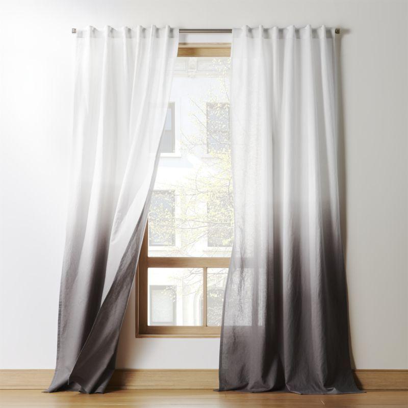 Shop Grey Dip Dye Curtain Panel Linen Cotton Fabric Is Hand
