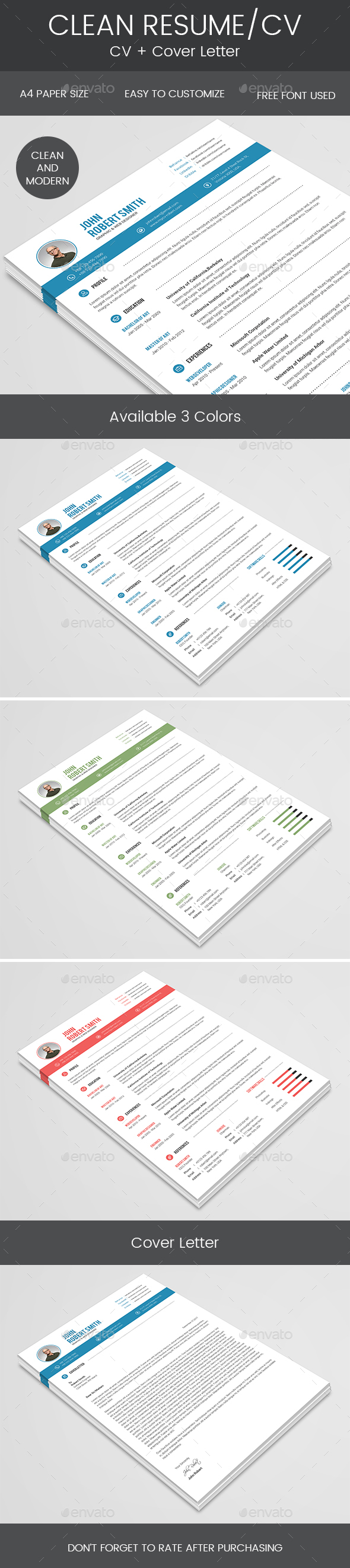 Clean Resume & Cover Letter Resumes Stationery Cover