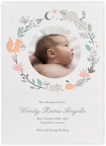 Bandit S Wreath Baby Announcement Little Cube For Paperless Post