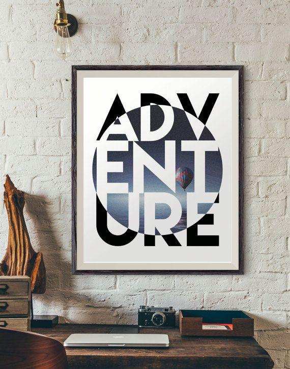 Adventure Motivational Poster Digital Art Print Modern By Ink88 Trendy Wall Art Digital Art Prints City Prints