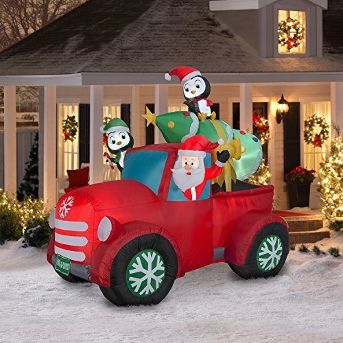 Santa Truck Retro with Christmas Tree on Roof Airblown Inflatable