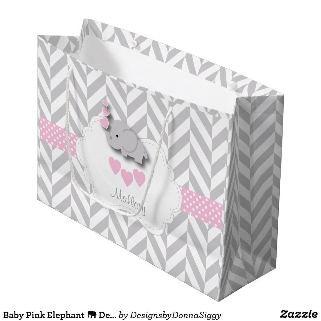 Baby pink elephant design baby girl shower large gift