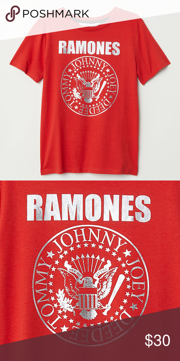 5dd798f6 Ramones Logo Foil Boys T-Shirt 4-6 6-8 8-10 NWT T-shirt from Ramones in  soft cotton jersey with a foil printed Ramones Seal Logo at front.