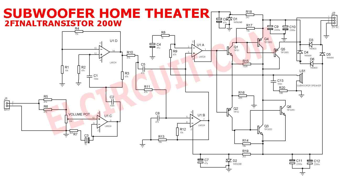 hight resolution of subwoofer home theater amplifier circuit is designed for subwoofer speaker system that used on subwoofer home theater system