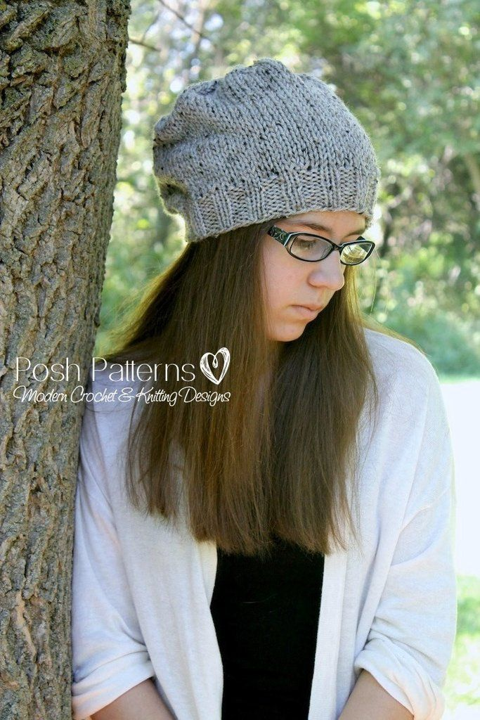Knitting Pattern Easy Knit Slouchy Hat Pattern Knitted Hat