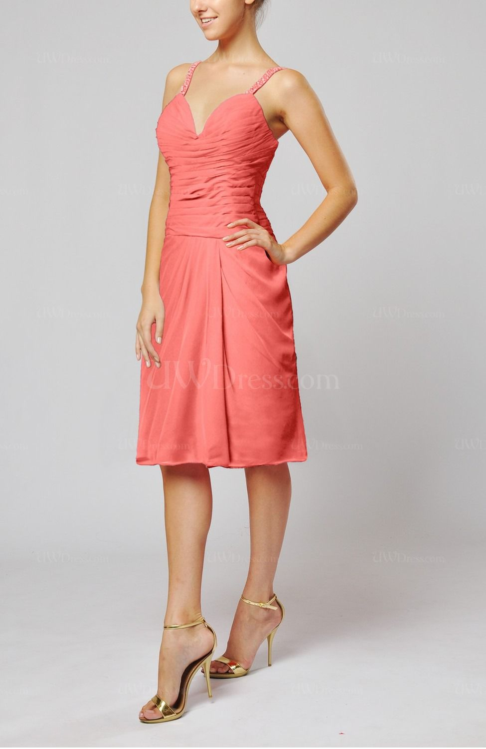 Coral plain sleeveless backless chiffon ruching wedding guest