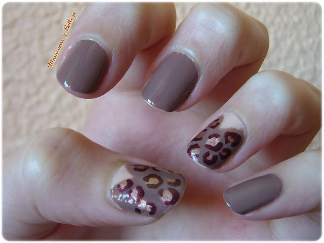 Nail art, Manicura Animal print leopard brown and gold// leopardo en marrones y dorado