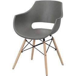 Schalenstuhl Set Mit Armlehnen Grau Kunststoff 4er Set