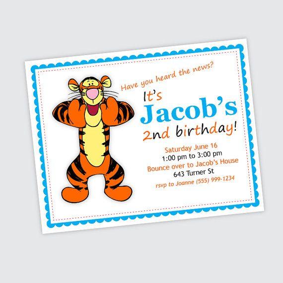 Tigger Birthday Party Invitation Boy Or Girl By OrangeMonkeyShop 1000