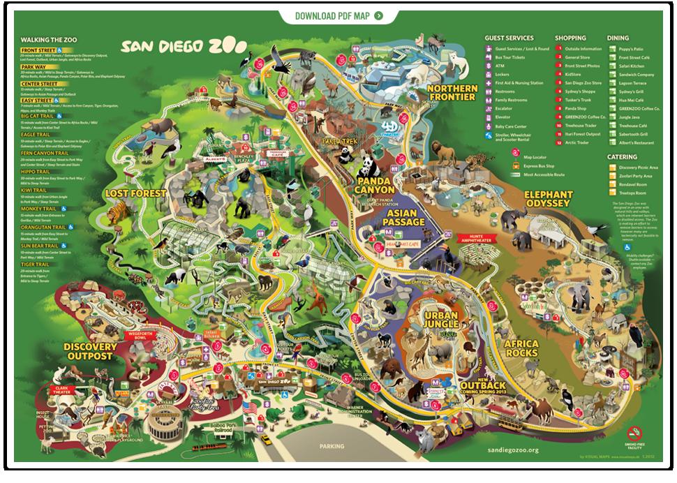 San Diego Zoo Visit San Diego San Diego Zoo Zoo Map
