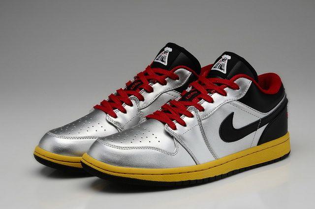Nike Air Jordan 1 Retro Low Metallic Silver Black Challenge Red Tour Yellow  Shoes