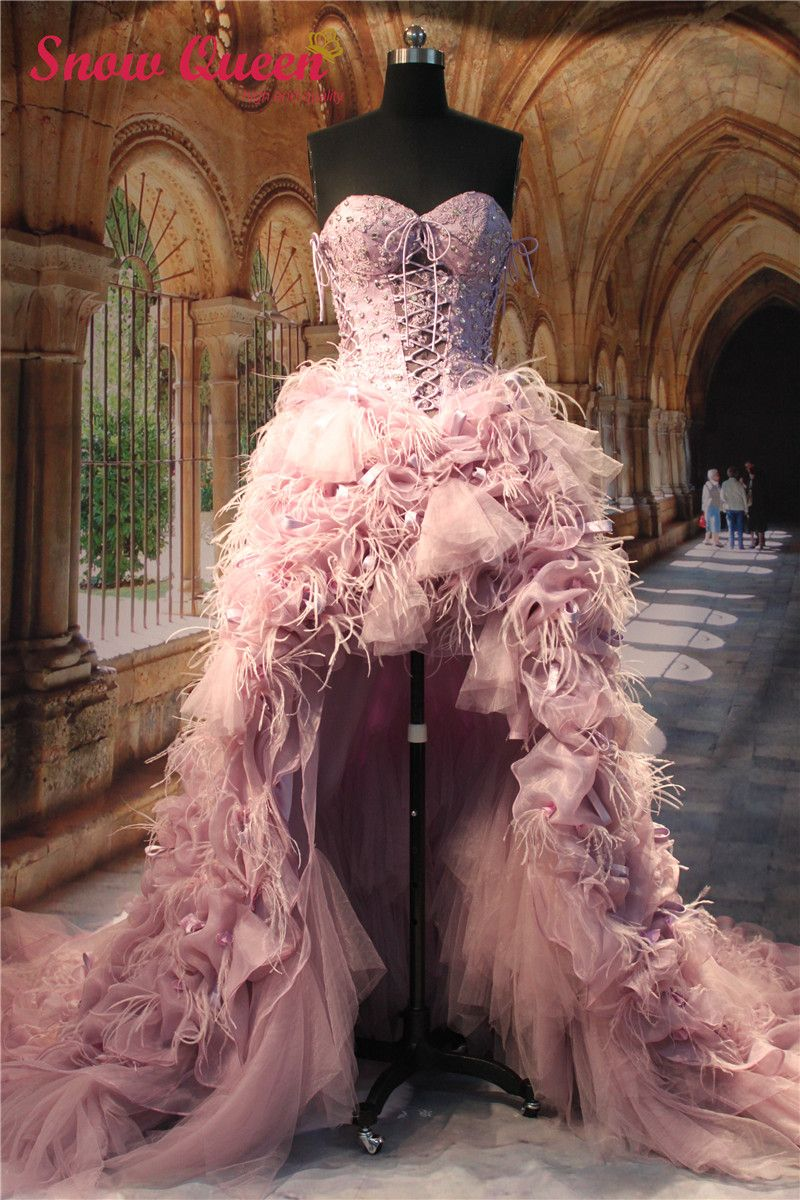 Pink wedding dress short in front long in back  Real Sample Luxury Wedding Dresses  Short Front Long Back
