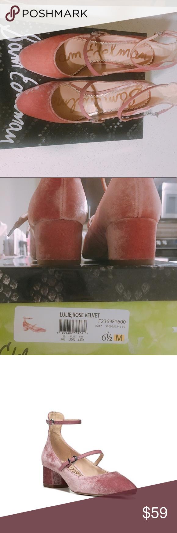 254a27beaa72 Sam Edelman Julie Block Heel Mary Jane Rose Velvet ❤️NWT rose velvet pump,  size