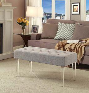 Convenience Concepts Acrylic Leg Bench Ottoman in Silver/Gray ...