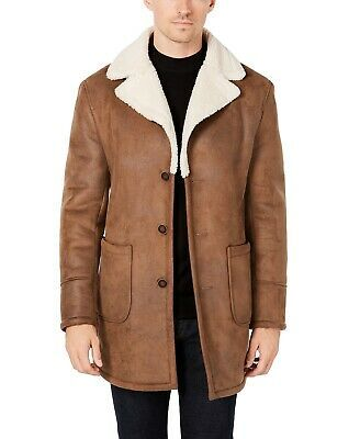 Tallia Mens Coat Brown Size Small S Overcoat Faux Leather Three Button $395 #087 #fashion #clothing #shoes #accessories #men #mensclothing (ebay link)