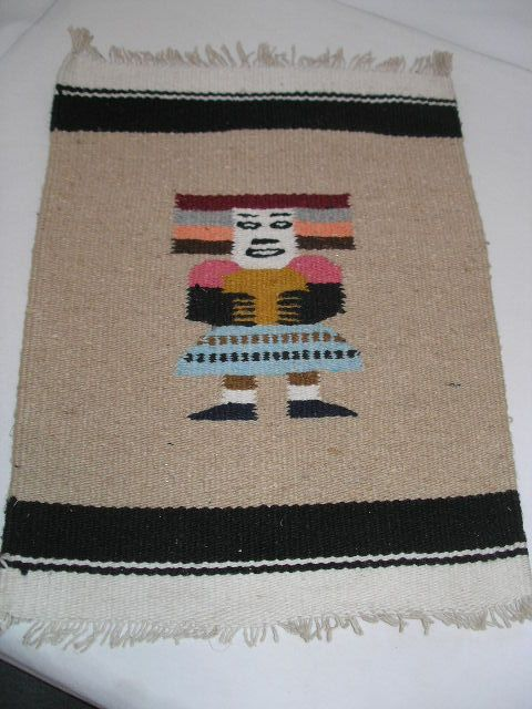 Vintage Small Mexican Wool Woven Aztec Rug Wall Hanging 14