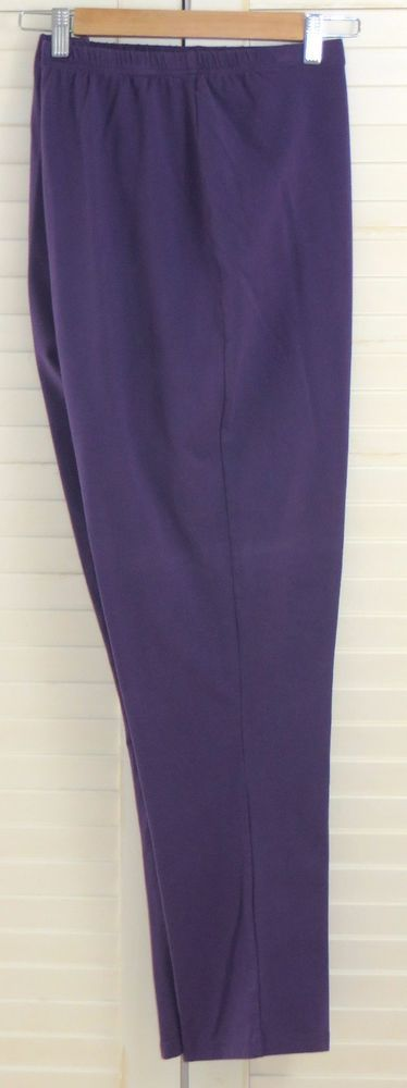 Women with Control 2X Pull On Tapered Slim Leg Pants Purple #WomenwithControl #CasualPants