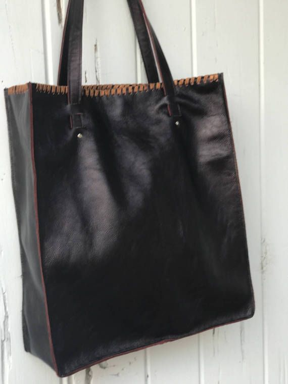 Leather Tote Bag Oversize Eggplant Color By Cowgemz On Etsy
