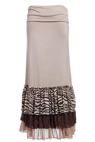 Long Ruffle Maxi Skirt Mocha Zebra | Feminine Styles | Pinterest | Maxi skirts Skirts and So cute