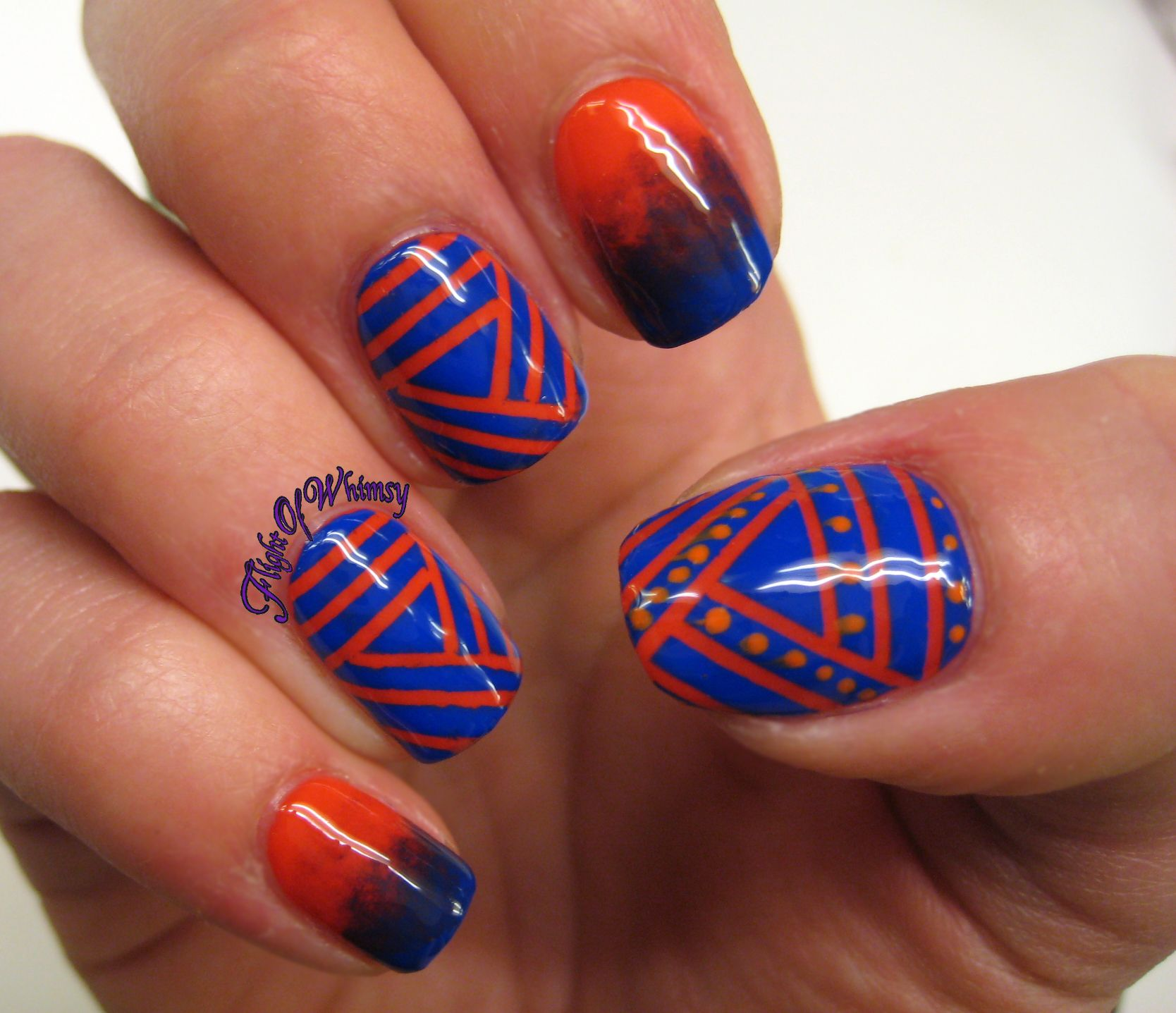 blue and coral nail art | coral julep natasha blue sinful colors