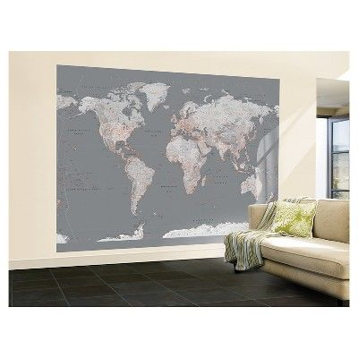 Art wallpaper mural contemporary grey world map world art wallpaper mural contemporary grey world map gumiabroncs Choice Image