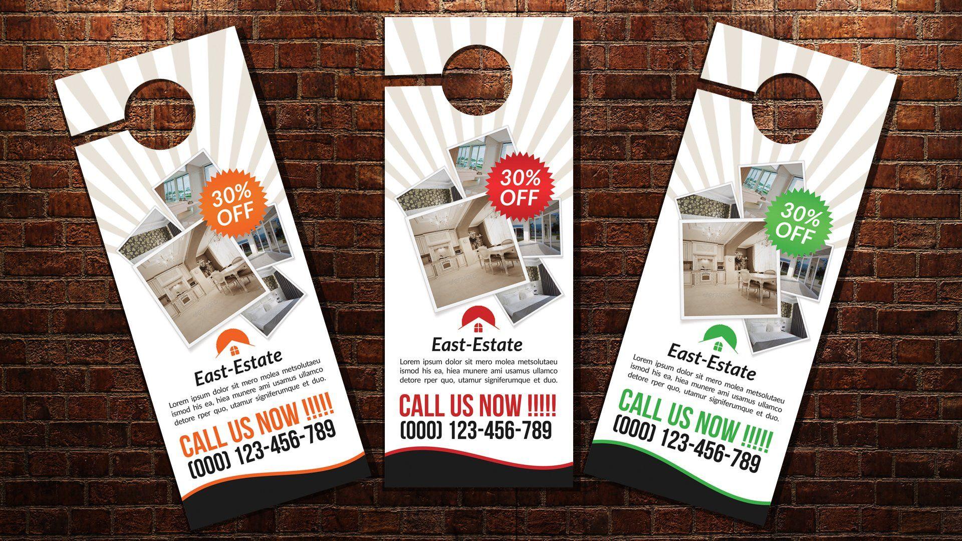 Real Estate Door Hanger | Door hanger template, Door ...