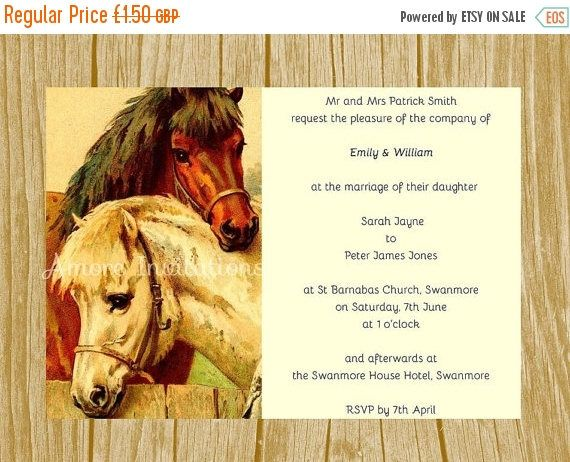 Printable Vintage Horse Wedding Invitation, Birthday Party - ms word for sale