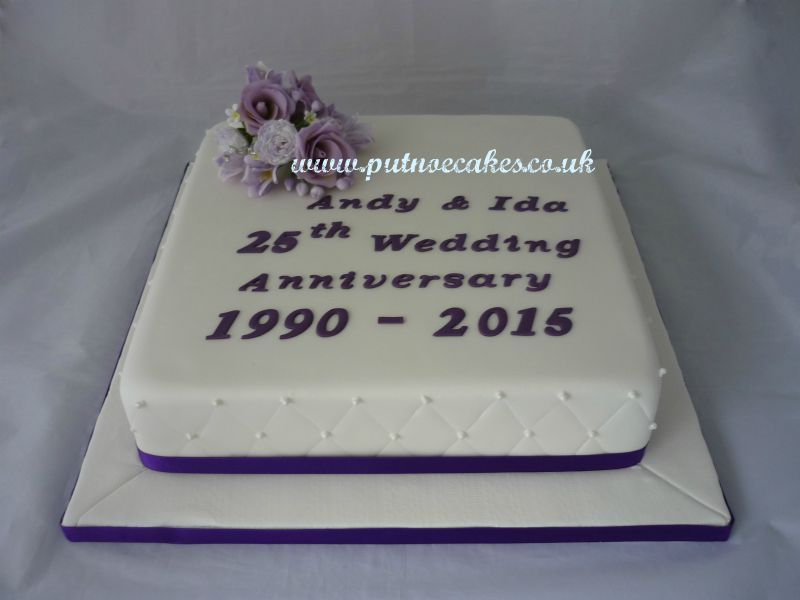 25th Anniversary cake made in lilac and purple with handmade flowers