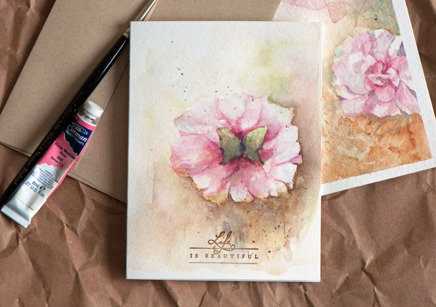 Watercolor Card Hand Painted Original Art Birthday Card