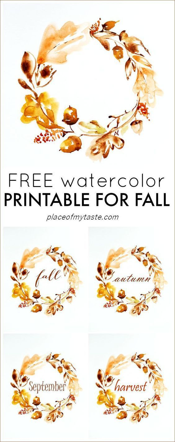 Autumn Watercolor Free Fall Printable #Fall #Decor