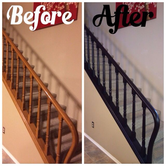Our Painted Stair Rail Before And After