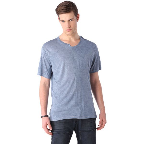 Diesel ME-T-JOE-S ($68) ❤ liked on Polyvore featuring men's fashion, men's clothing, men's shirts, men's t-shirts, t-shirts, light blue and men