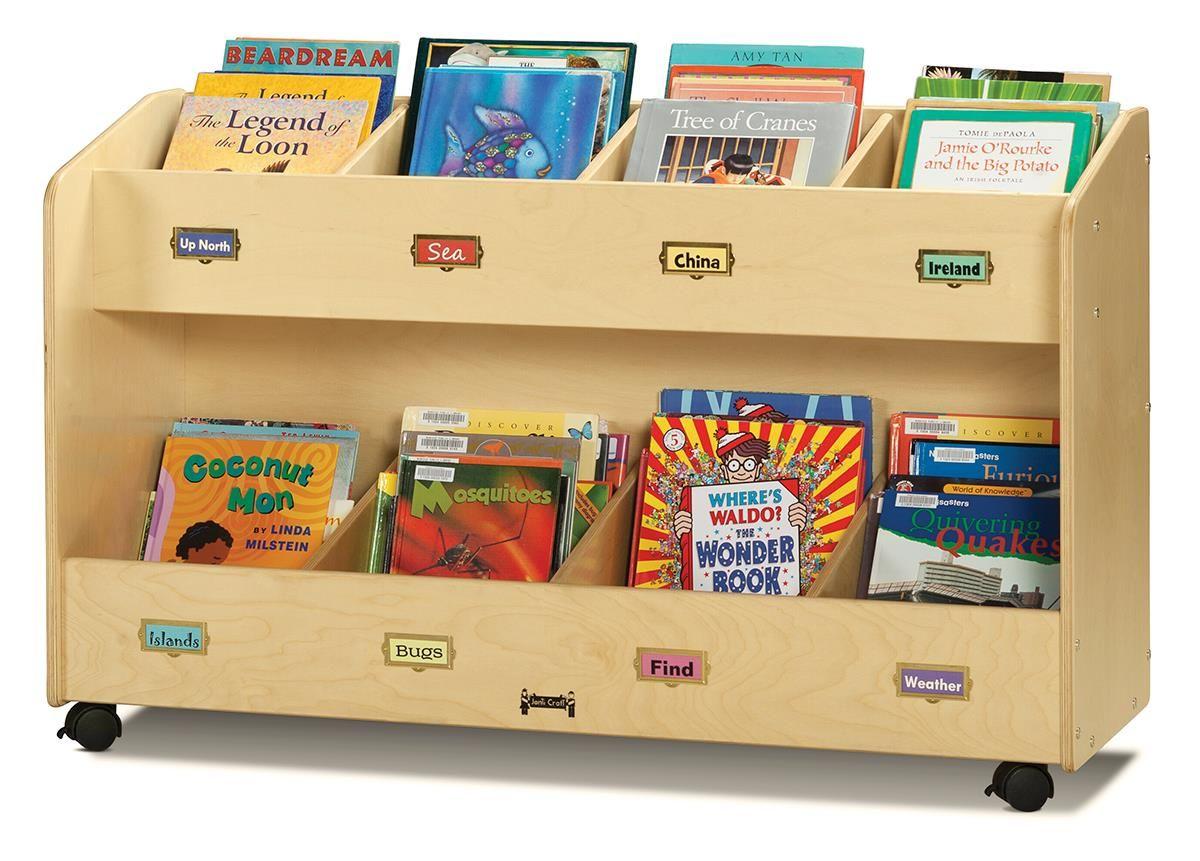 2 Tiered Childrenu0027s Book Cart Display, Jonti Craft, Single Sided, Wood    Natural
