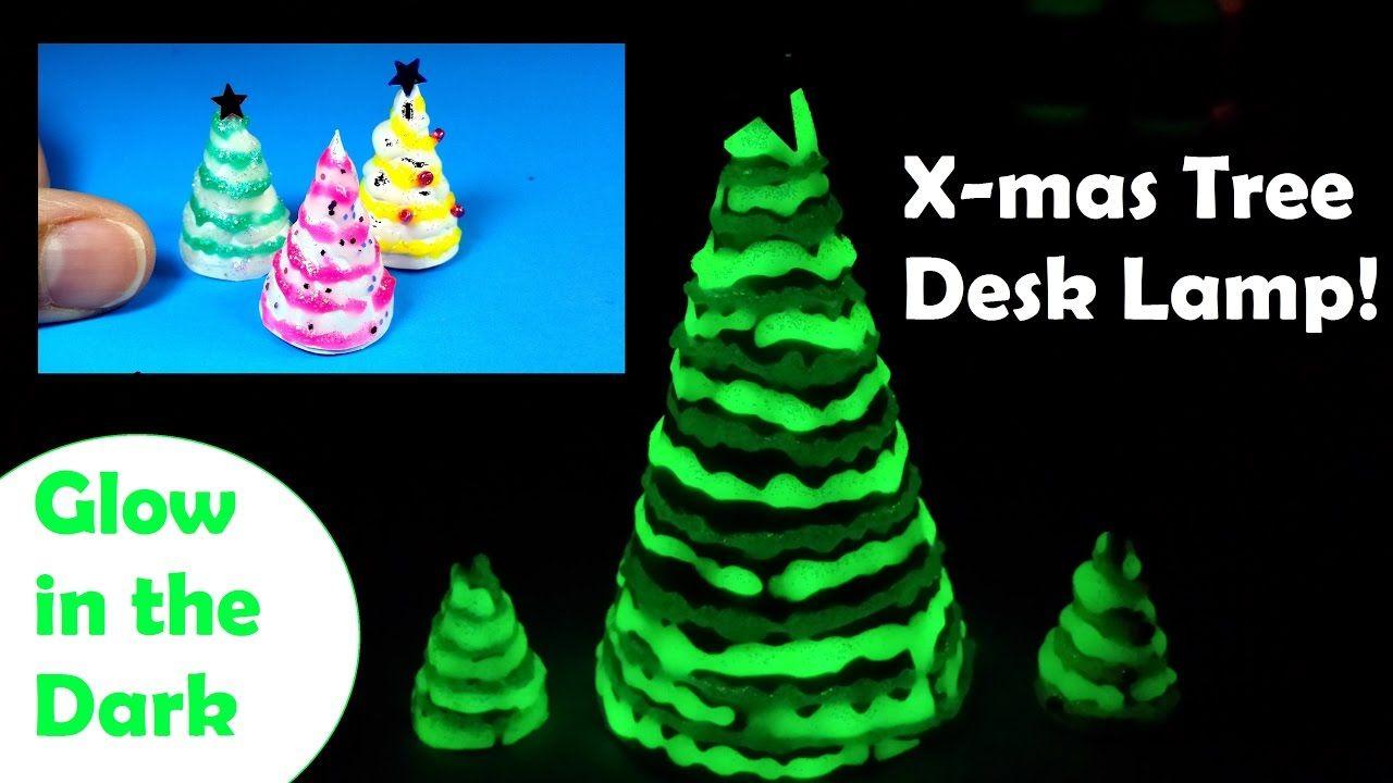 DIY Miniature Christmas Tree Desk Lamp   Glow In The Dark   Holiday Craf.