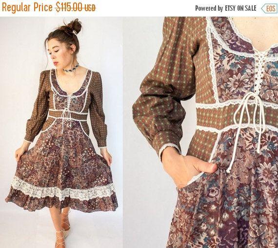 50% OFF SALE... Vintage jaren 70 jurk van de stijl door viralthreads